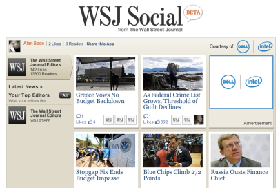 WSJ Social: Exciting strategy but poorly executed on Facebook